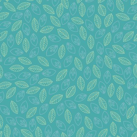 Seamless leaves outline pattern. Vector illustration