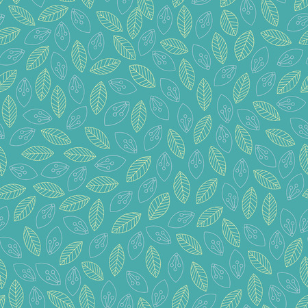 Seamless leaves outline pattern. Vector illustration