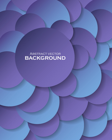 Abstract background with blue paper circles and place for text. Vector illustration