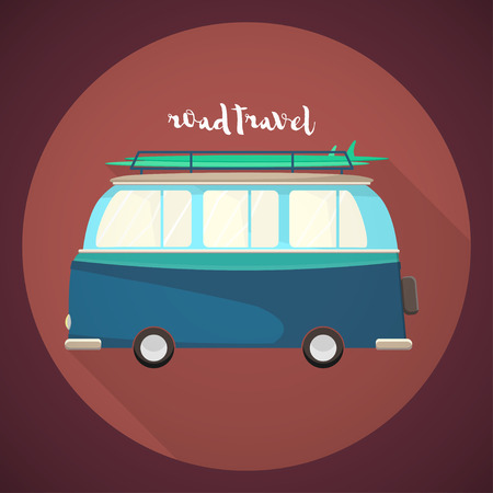 Van with surfboard on top of the roof icon. Road trip lettering. Vector illustration Illustration