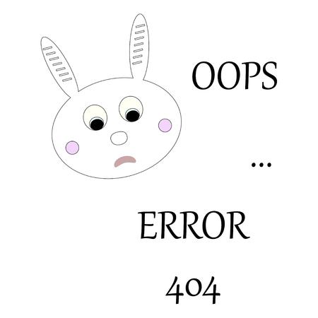 Bunny with error message. Oops error 404 concept. Vector illustration