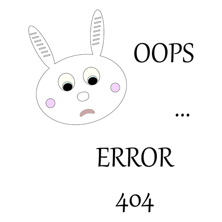 Bunny with error message. Oops error 404 concept. Vector illustration