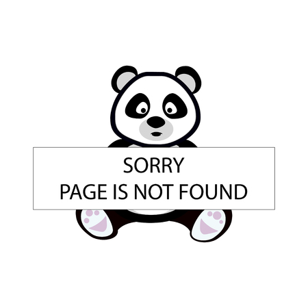 Panda holding board with message. Sorry page is not found. Error concept. Vector illustration