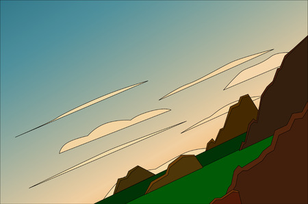 Green meadow with mountains landscape. Tilted horizon. Vector illustration Ilustrace