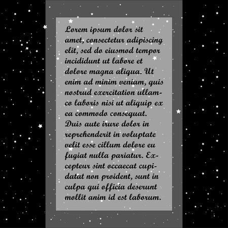 Ruimtebannerontwerp met glanzende heldere sterren. Plaats voor tekst. Vector illustratie
