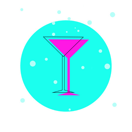 Colorful cocktail glass silhouette icon. Vector illustration Illustration