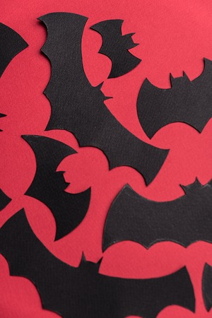 Traditional haloween symbols of black bats on red background. Haloween picture and logo Stock Photo