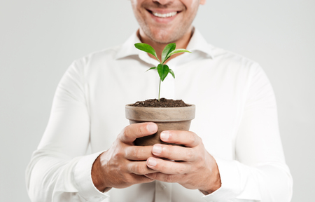 Cropped image of young smiling man dressed in white shirt isolated over grey wall background holding plant. Reklamní fotografie