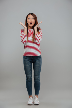 Full length image of shocked asian woman in sweater holding hands near the face and looking at the camera over gray background