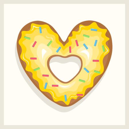 Yellow heart shaped glazed donut. Vector illustration