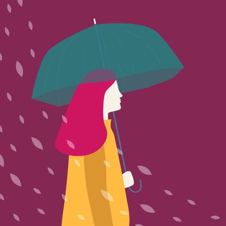 Silhouette of a woman dressed in raincoat holding umbrella under the rain. Vector illustration