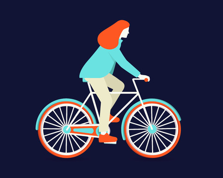 Silhouette of a woman riding a bicycle over bue background. Vector illustration