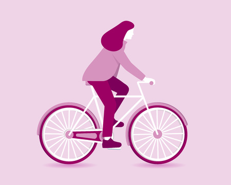 Silhouette of a woman riding a bicycle over pink background. Vector illustration