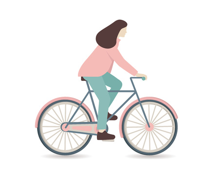 Woman riding a bicycle over white background. Vector illustration