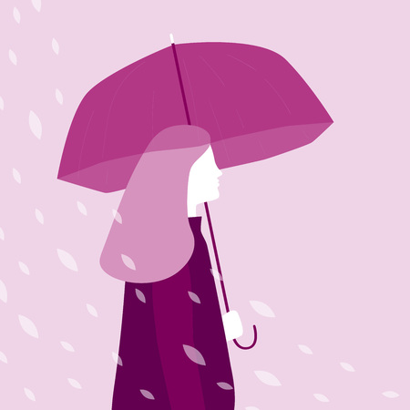 Woman dressed in raincoat walking under the rain with an umbrella. Vector illustration