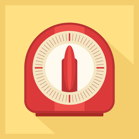 Red kitchen timer icon in golden background. Vector illustration
