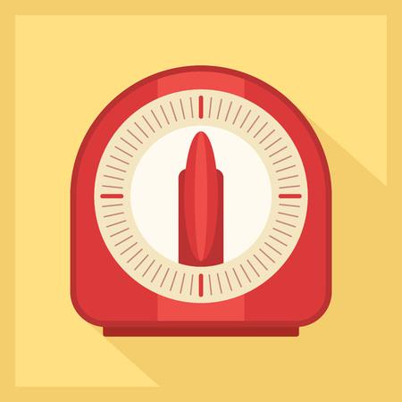 Red kitchen timer icon in golden background. Vector illustration