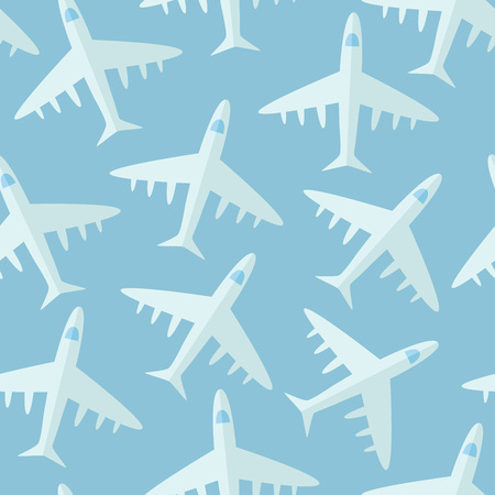 Blue seamless pattern with airplanes. Vector illustration