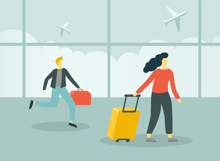 People with suitcases walking and running in airport terminal. Vector illustration