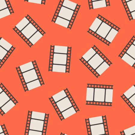 Blank movie film strips over red seamless pattern. Vector illustration Illustration