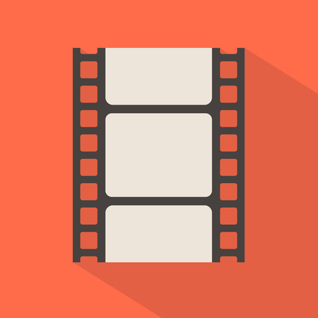 Blank film strip in red background. Vector illustration