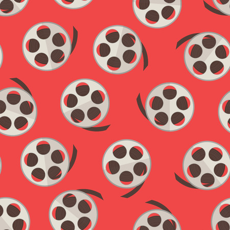 Film reel with strip over red seamless pattern. Vector illustration Illustration