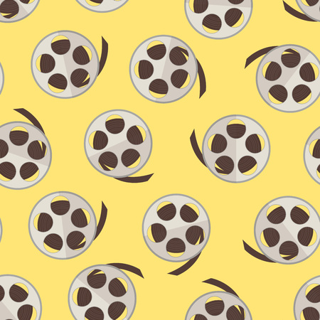 Film reel with strip over yellow seamless pattern. Vector illustration