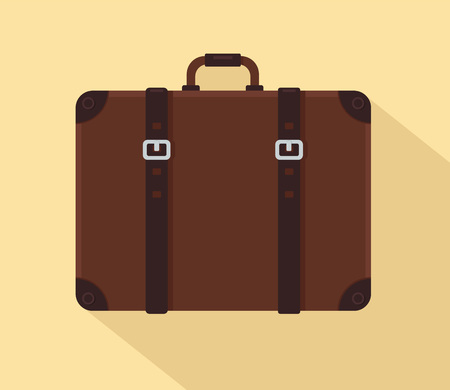 Brown vintage suitcase with leather belts. Vector illustration