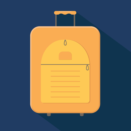Yellow modern valise suitcase with handle. Vector illustration
