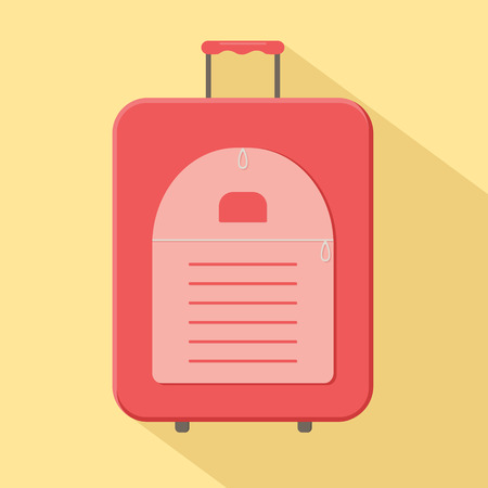 Red modern valise suitcase with handle. Vector illustration
