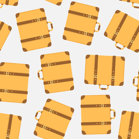 Yellow vintage suitcases seamless pattern. Vector illustration 向量圖像