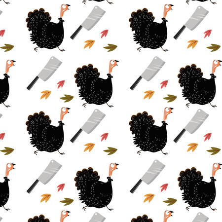 Funny running turkey and kitchen knife pattern background. Thanksgiving holiday concept. Vector illustration