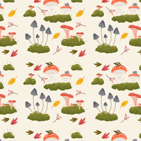Forest mushrooms and leaves pattern background. Vector illustration Illustration