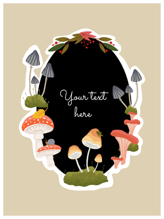 Round blank frame decorated with forest mushrooms and leaves with place for your text. Vector illustration