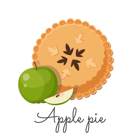 Traditional american apple pie. Thanksgiving holiday concept. Vector illustration