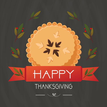 Happy Thanksgiving poster with pumpkin pie and lettering. Vector illustration
