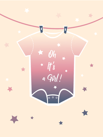 Cute baby shower design greeting card. Its a girl! leterring. Vector illustration