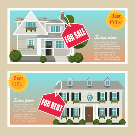 Real estate house property advertising coupons set. Best sale offer. Vector illustration Çizim