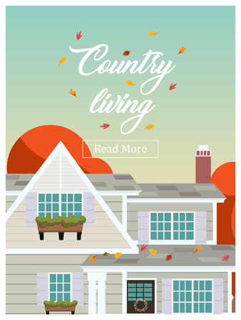 Country living lettering over house residence background. Website front page template. Vector illustration
