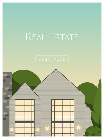Real estate lettering over house residence background. Website front page template. Vector illustration