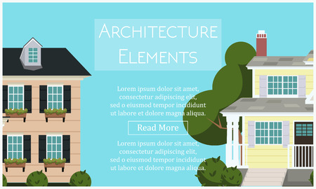 Architecture elements with houses on a background. Website front page template. Vector illustration Illustration