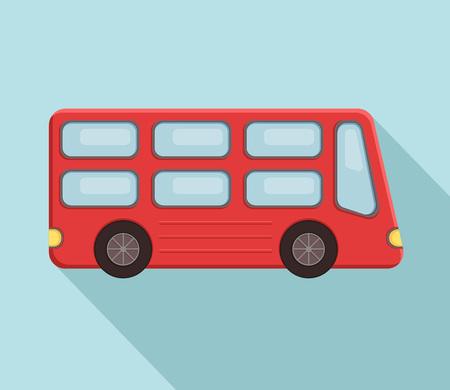 Double-decker turist bus logo over blue. Vector illustration