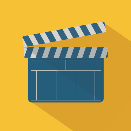 Black open clapperboard over yellow background. Vector illustration