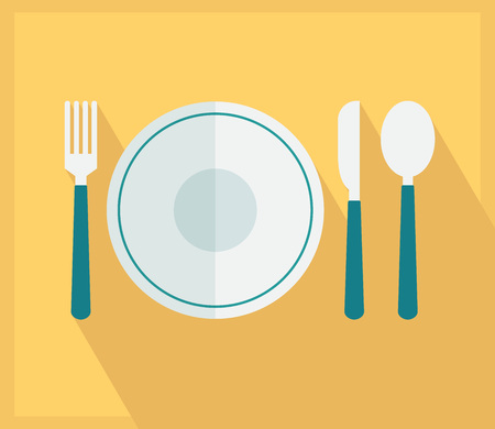 Cutlery over yellow icon. Vector illustration