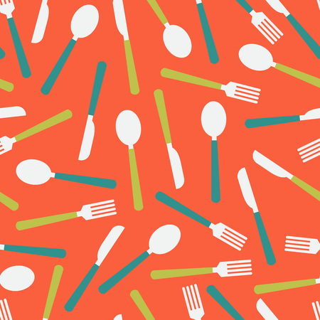 Cutlery seamless pattern over red. Vector illustration