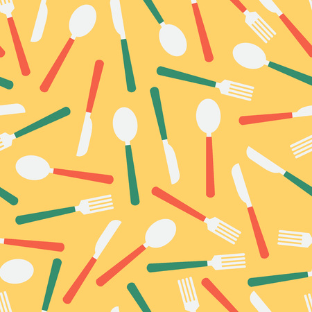 Cutlery seamless pattern over yellow. Vector illustration