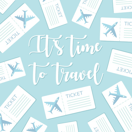 Time to travel motivational greeting card. Vector illustration Illustration