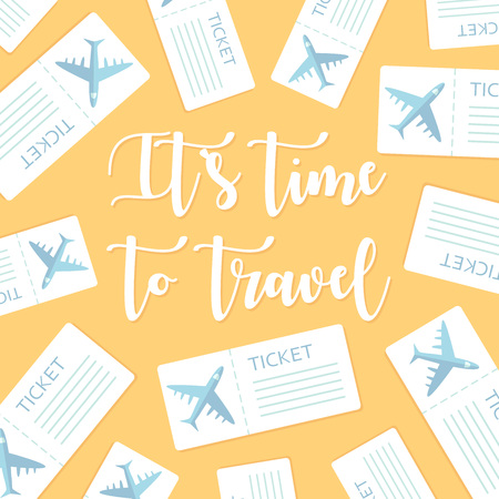 Its time to travel motivational greeting card. Vector illustration