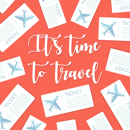 Its time to travel motivational greeting card with plane tickets. Vector illustration Illustration