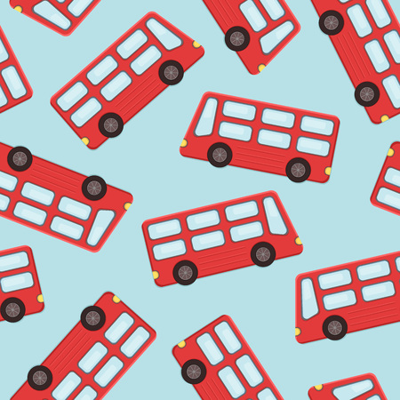 Double-decker tourist bus logo over blue seamless pattern. Vector illustration